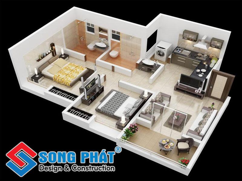 Căn hộ nội thất đẹp với 2 phòng ngủ