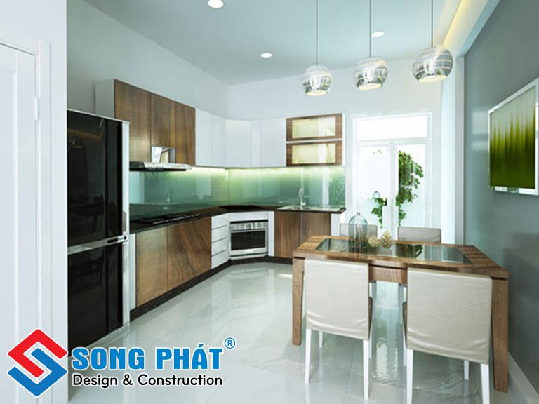 Không gian có sự xuyên suốt nhờ vách ngăn kính ngăn giữa phòng sinh hoạt chung và khu vực phòng ăn - bếp
