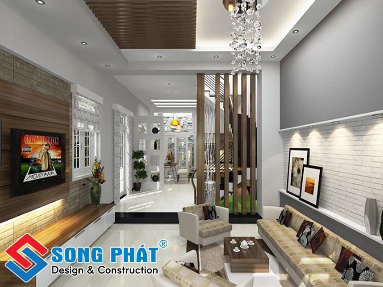Không quá cầu kỳ, chỉ bằng những đường nét đơn giản nhưng đầy tinh tế cũng đủ tạo nên một mẫu phòng khách nhà ống tuyệt đẹp.