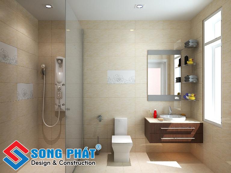 Thiết kế phòng tắm với ô cửa sổ giúp phòng trở nên thông thoáng hơn.