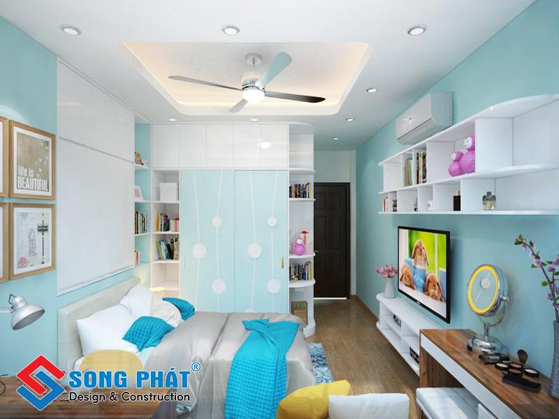 Phòng ngủ của con gái tiện nghi trong mẫu thiết kế nội thất đẹp