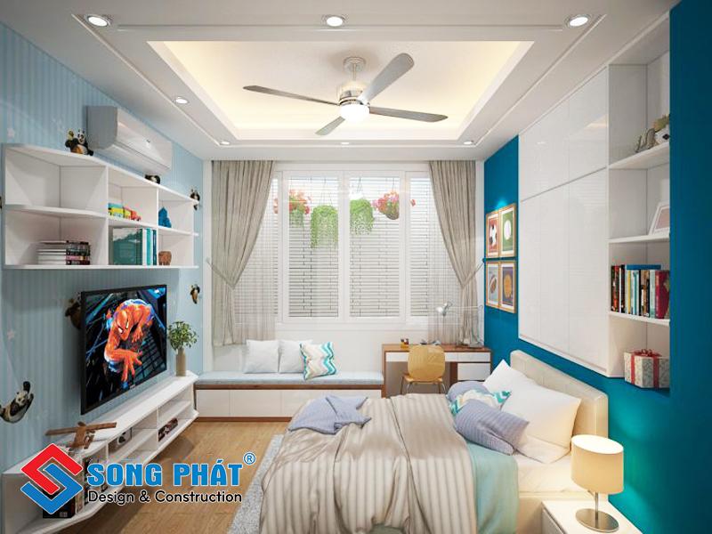 Phòng ngủ con trai nhỏ trong mẫu thiết kế nội thất đẹp nhà 3 tầng