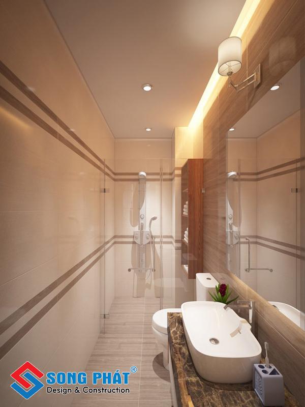 Nhà tắm hẹp nhưng vẫn thoáng rộng trong mẫu thiết kế nội thất đẹp