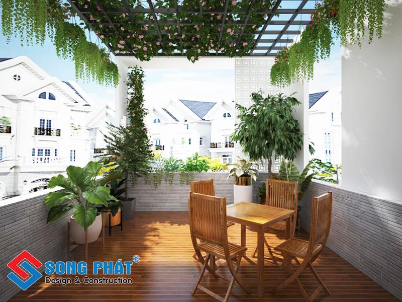 Sân vườn trên sân thượng trong mẫu thiết kế nội thất đẹp