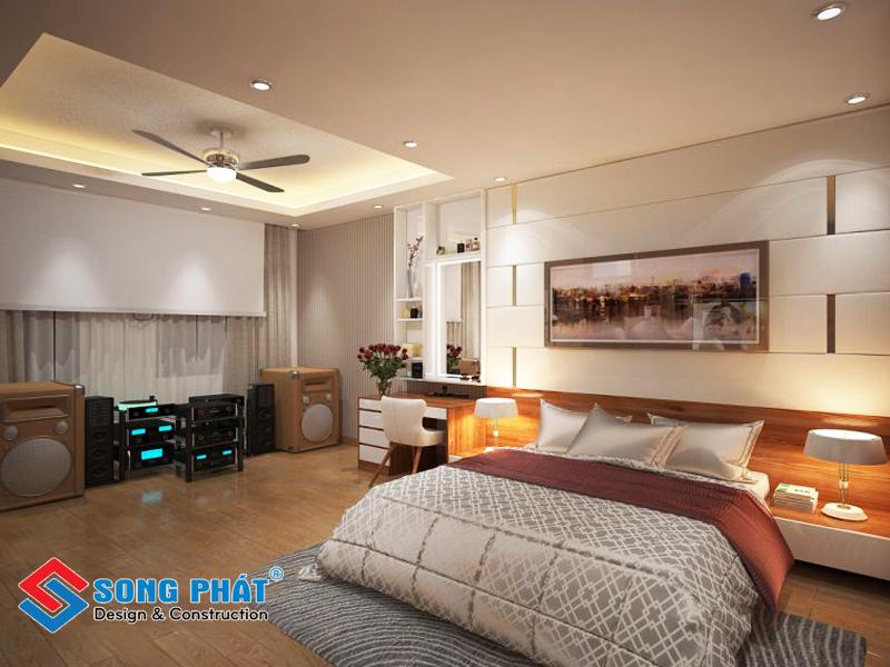 Phòng ngủ bố mẹ ấm áp với tông màu gỗ trong mẫu thiết kế nội thất đẹp