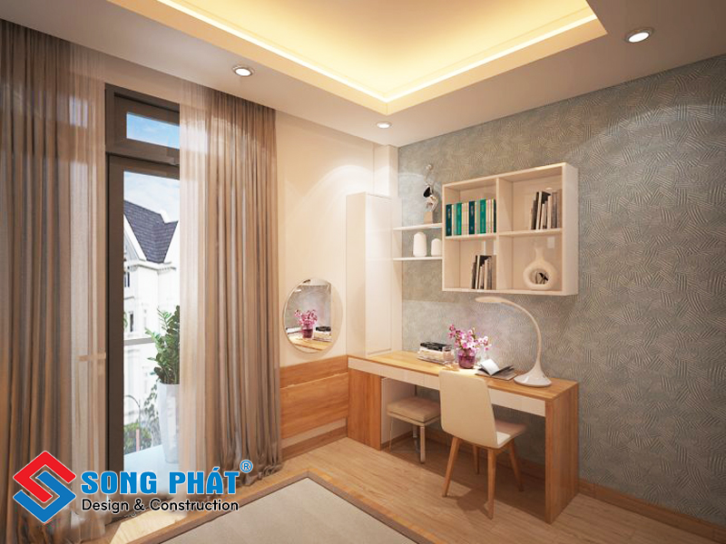 Phòng ngủ tiện nghi trong nhà phố 3 tầng 1 tum