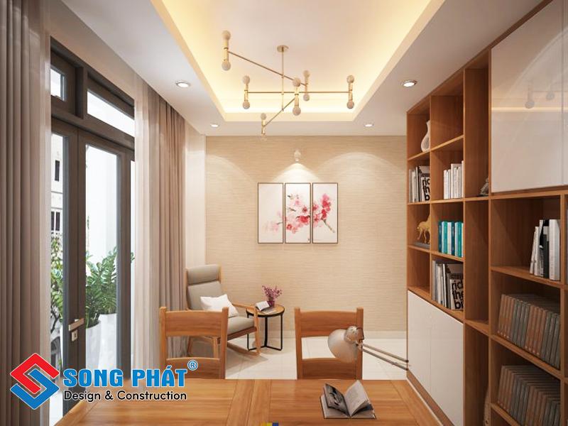 Phòng sinh hoạt chung trong thiết kế nhà phố 3 tầng 1 tum