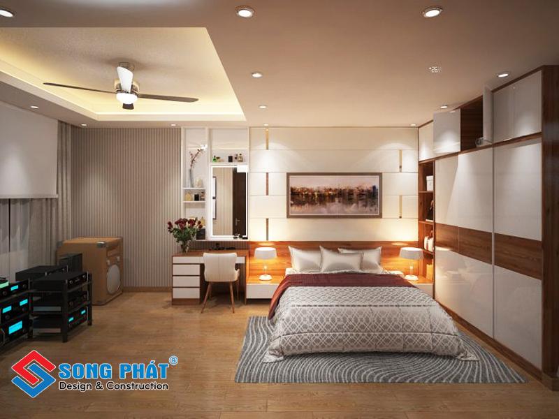 Tổng thể phòng ngủ của bố mẹ trong mẫu thiết kế nội thất đẹp