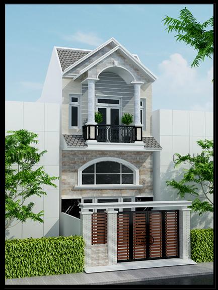 nhà phố 2 tầng mái thái