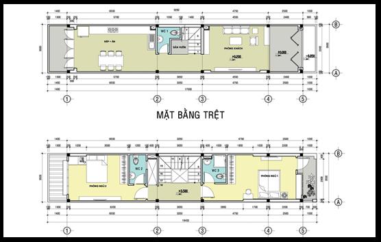thiết kế nhà ống 2 tầng 1 tum