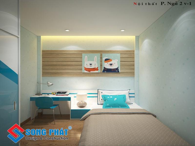 Tông xanh cho phòng ngủ của con