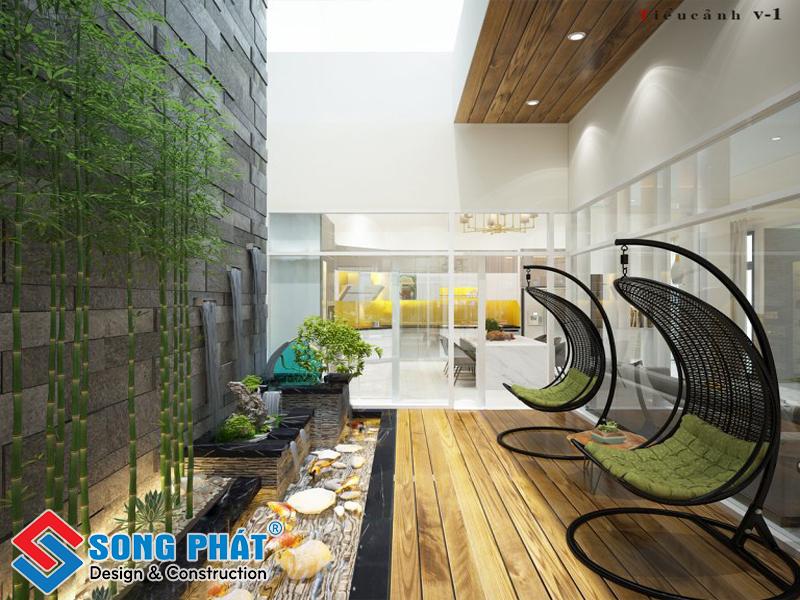 Không gian nhà lung với tiểu cảnh đẹp cho nhà phố ấn tượng