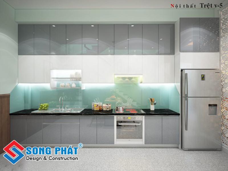 Tủ bếp tiện nghi với hệ tủ cao