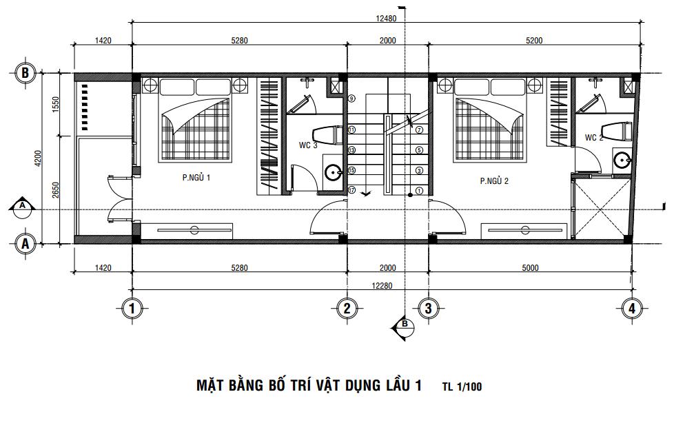 thiết kế nhà 5 tầng