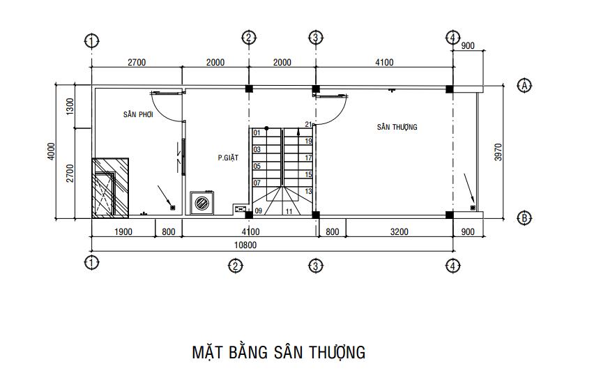 mẫu nhà 1 trệt 2 lầu sân thượng