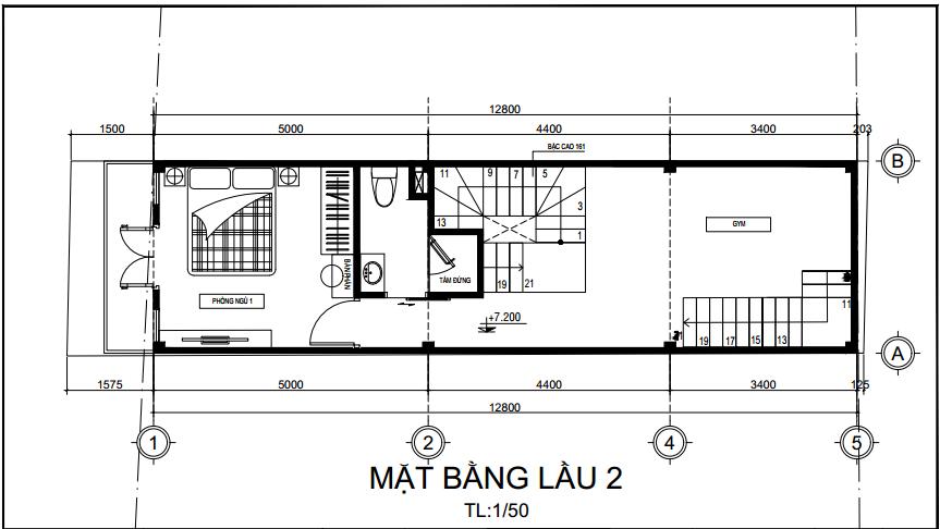 thiết kế nhà 1 trệt 3 lầu