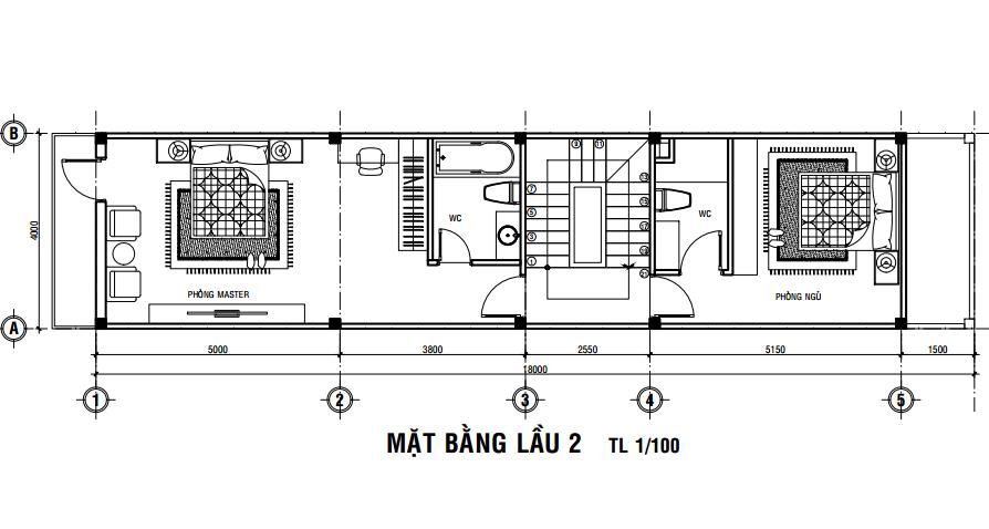 bản vẽ thiết kế nhà 4m