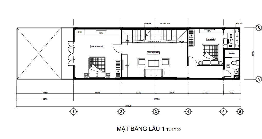 bản vẽ thiết kế nhà 5m