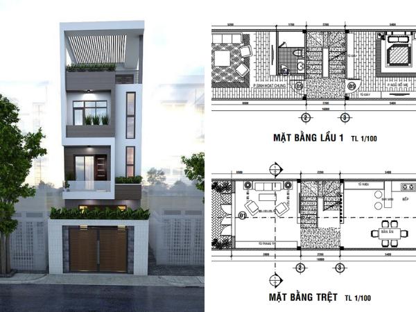 bản vẽ nhà 4 tầng