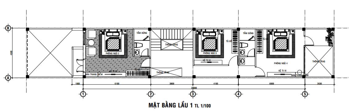 bản vẽ nhà 3 tầng