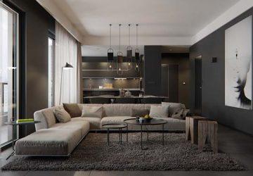 thiết kế nội thất màu tối