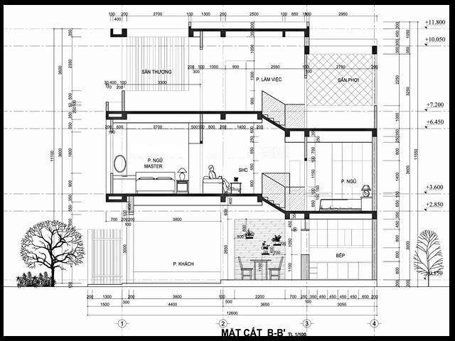 nhà ống lệch tầng 4x16m