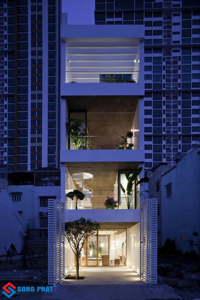 Nhà phố 4 tầng mái bằng với phong cách thiết kế Nhật Bản