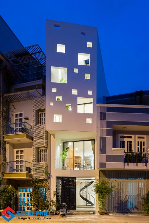 Thiết kế nhà phố hiện đại với nguyên tắc lấy ánh sáng độc đáo