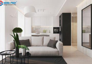 Phòng khách cho nội thất căn hộ được bố trí đơn giản gần gũi. Các món nội thất cũng rất giản tiện, giúp mở rộng không gian