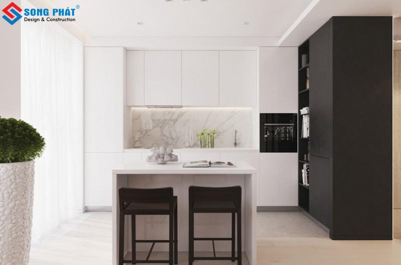 Nội thất phòng bếpkhá đơn giản với hai màu đen trắng vàchất liệu bóng, vừaấn tượng vừasang trọng