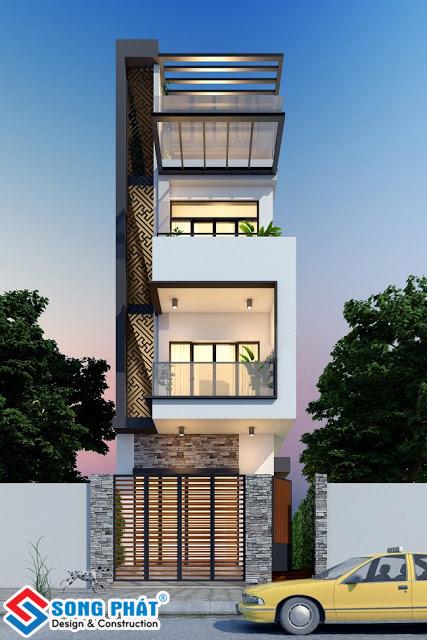 Kiến trúc mặt tiền nhà 3 tầng.