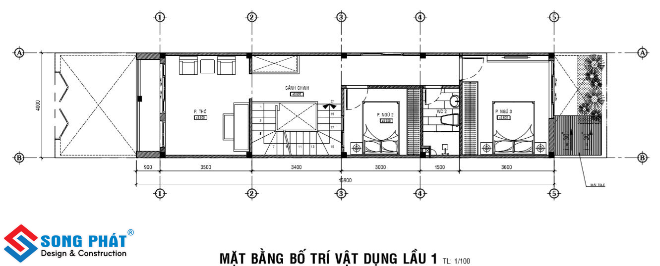 Kiến trúc nhà 1 trệt 1 lầu mái thái.