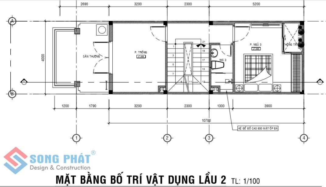Nhà 1 trệt 2 lầu mái thái.