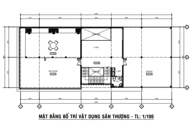Thiết kế nhà phố 3 tầng.