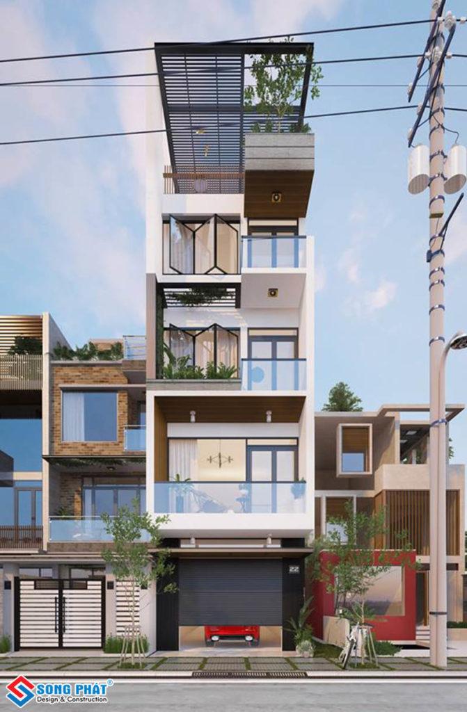 Phối cảnh mặt tiền nhà phố 5 tầng hiện đại có hệ lam sắt chống nắng.