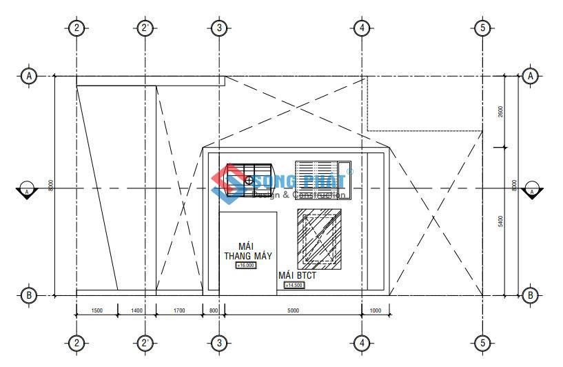 Thiết kế nhà 1 trệt 2 tâng 8x15m.