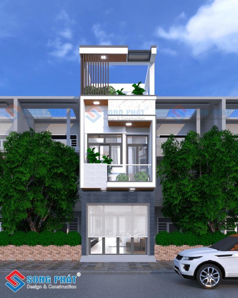 Nhà 1 trệt 1 lầu sân thượng mái BTCT – diện tích 4x20m tại Quận Tân Phú.