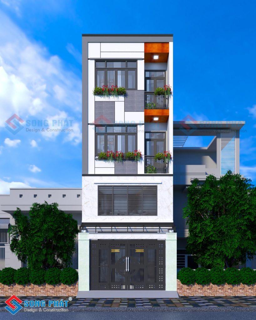 Thiết kế nhà phố 1 trệt 1 lửng 2 lầu mái bằng khép kín độc đáo tại Quận 10.
