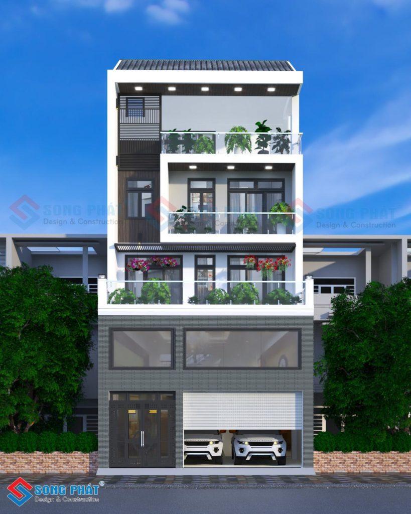 Kiến trúc nhà 4 tầng 1 lửng có gara ôtô rộng rãi, bố trí thang máy hiện đại.