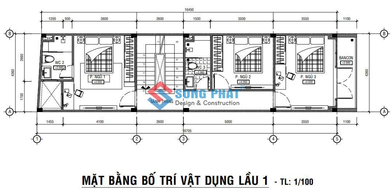Nhà 1 trệt 1 lầu 1 tum 4,3x20m.