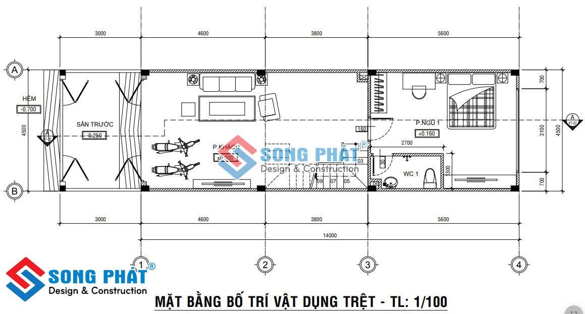 Thiết kế nhà 1 trệt 3 lầu có lửng.