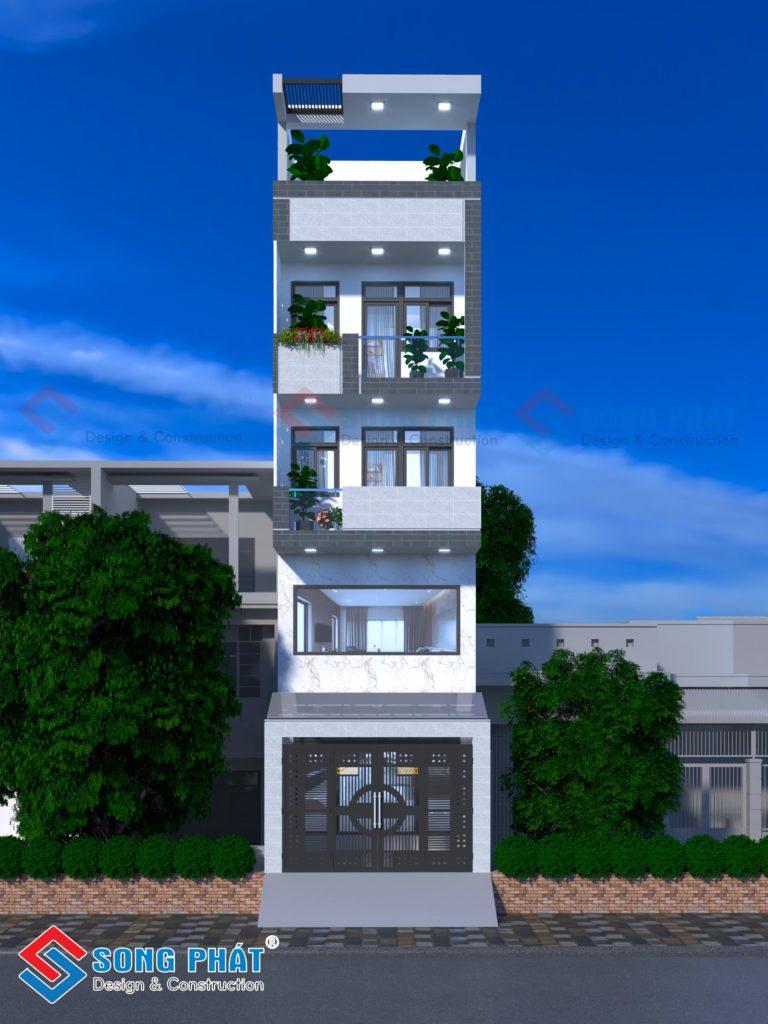 Thiết kế nhà 1 trệt 3 lầu có lửng với diện tích 4,5x17m mặt tiền đẹp