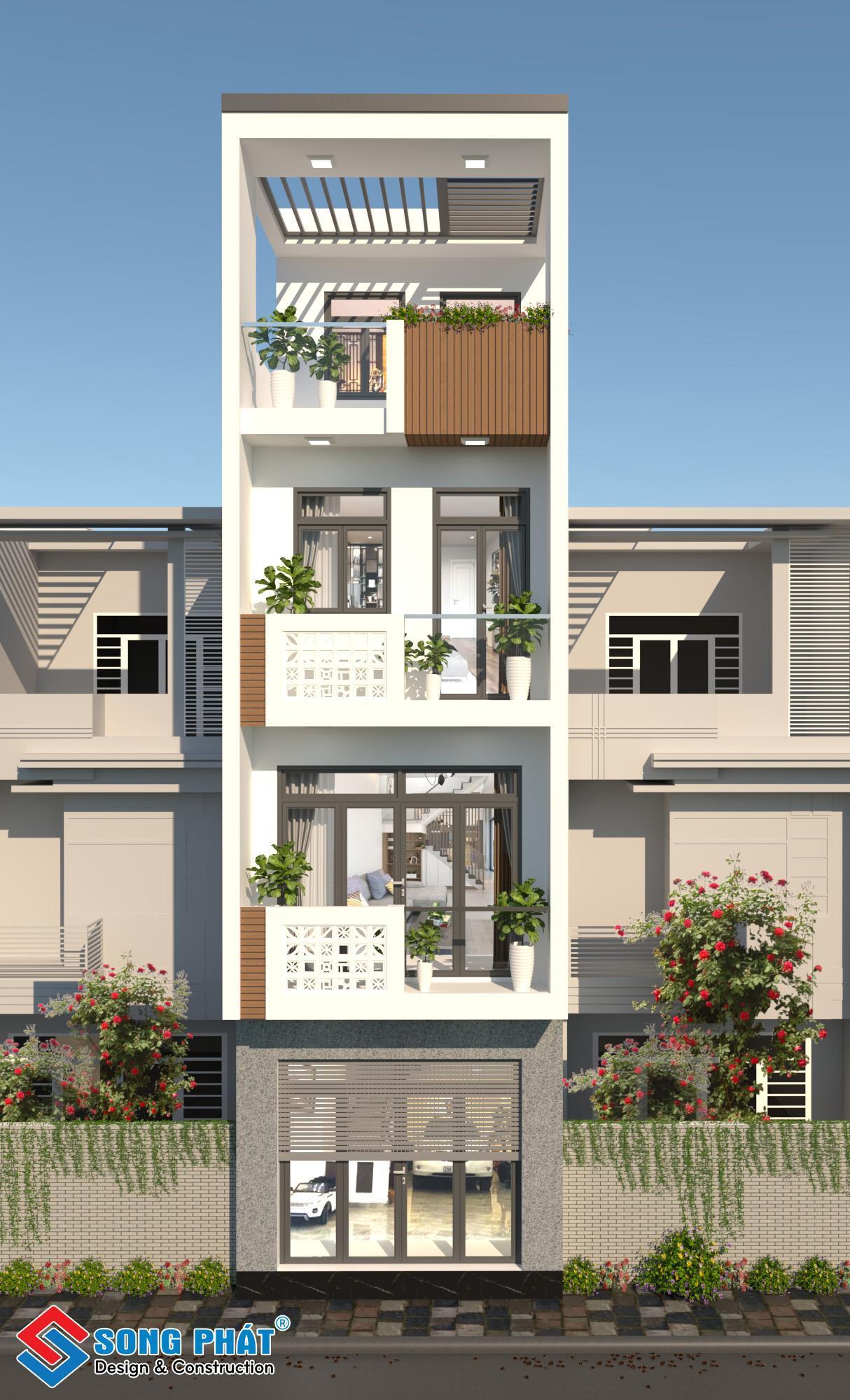 Thiết kế nhà 4 tầng 4x14m.