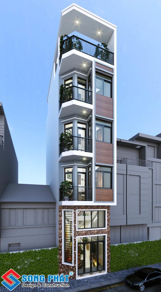 Nhà 1 trệt 1 lửng 3 lầu sân thượng với mặt tiền 4m hiện đại tại Quận 4.