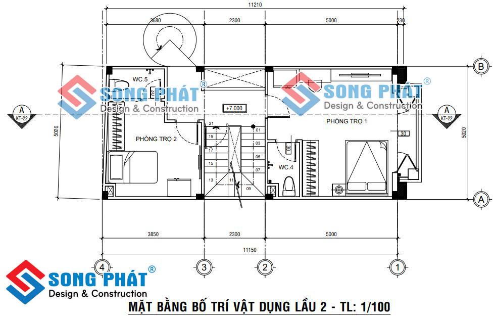 Thiết kế nhà 5x12m.