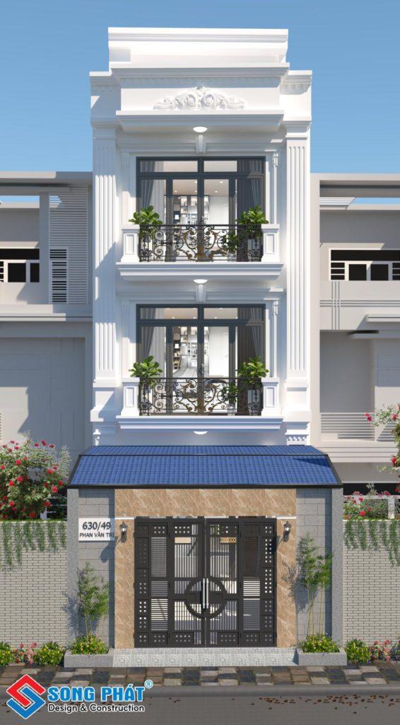 Thiết kế nhà 3 tầng 5x12m kiến trúc Tân Cổ Điển có sân thượng tại Gò Vấp.