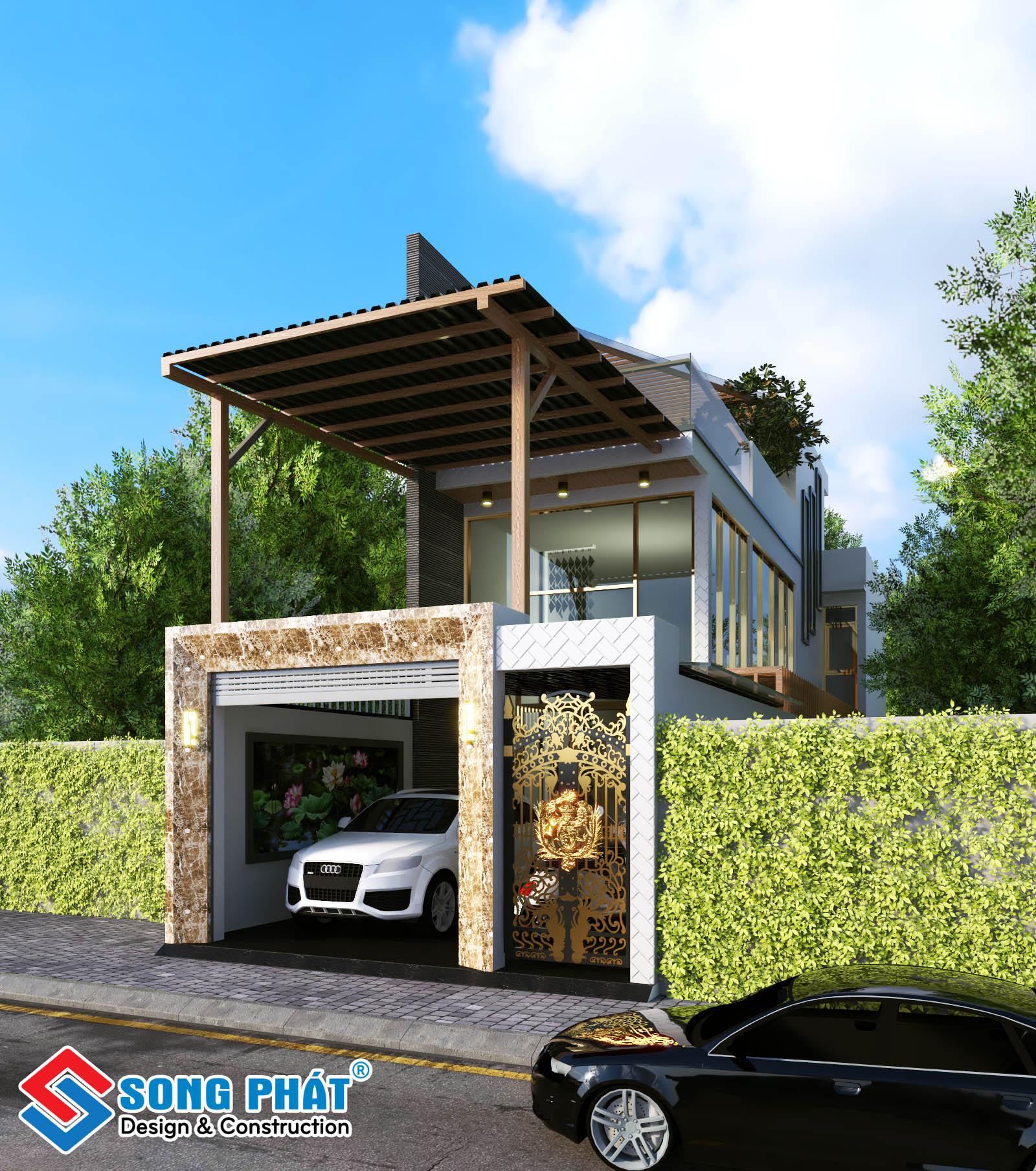 Thiết kế nhà 2 tầng 5x25m.