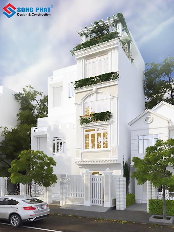 Nhà phố 5 tầng phong cách tân cổ điển siêu sang