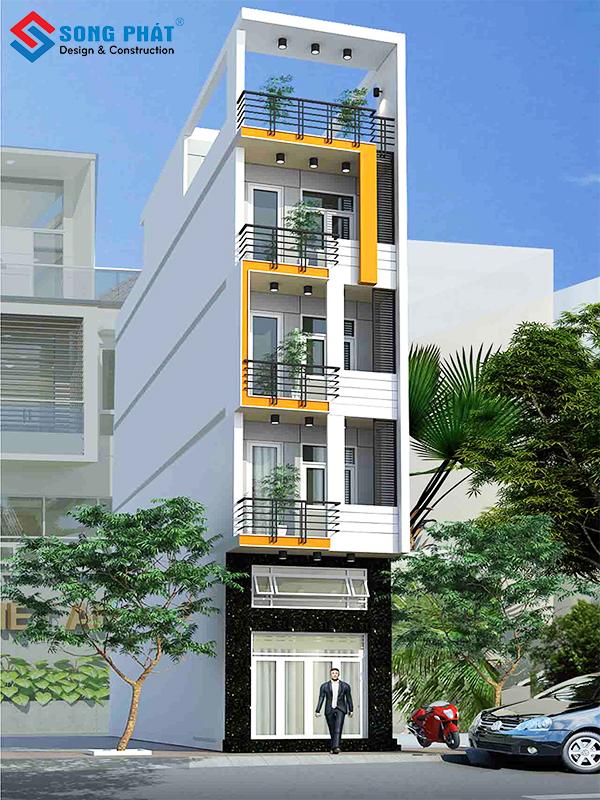 Mẫu nhà 5 tầng đẹp mang phong cách hiện đại