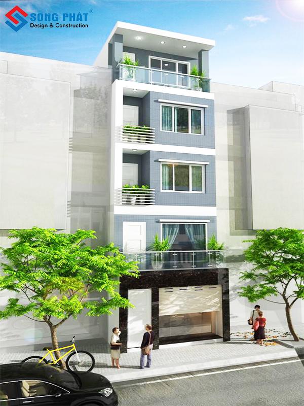 Thiết kế nhà phố 5 tầng phong cách hiện đại
